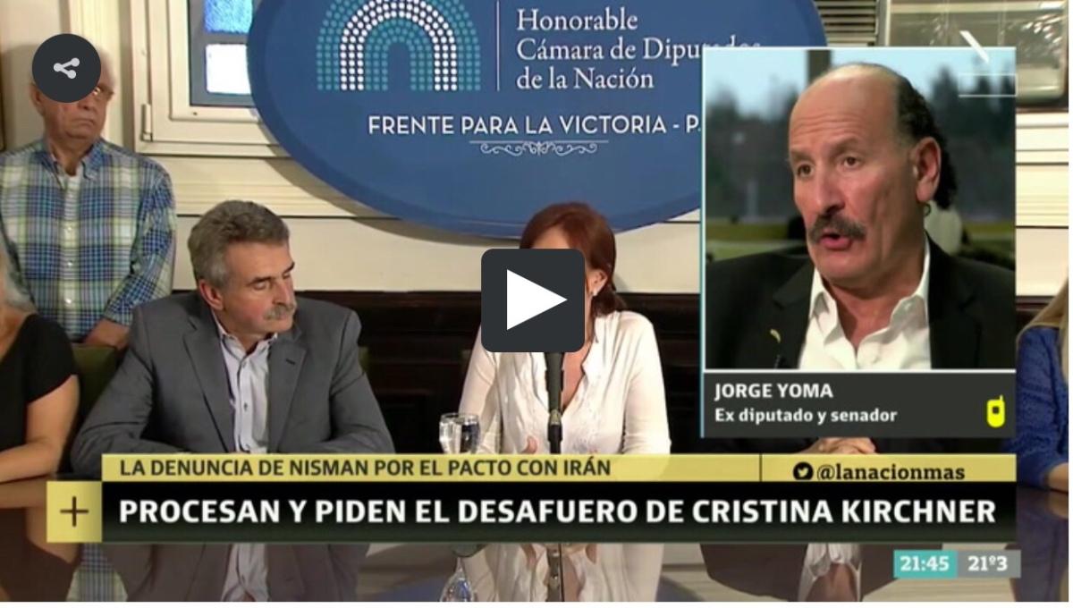 """Jorge Yoma: """"Voté en contra del acuerdo con Irán y después se me vino la noche"""""""