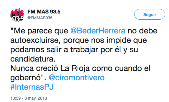 FM MAS 93.5 en Twitter Me parece que BederHerrera no debe autoexcluirse porque nos impide que podamos salir a trabajar por él y su candidatura. Nunca creció La Rioja como cuando